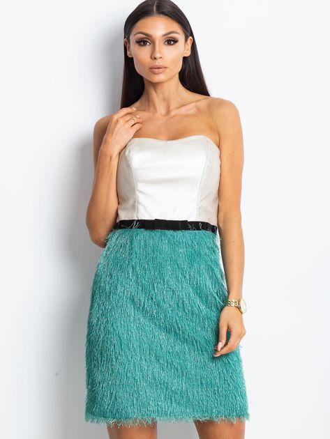 Beżowo-zielona sukienka z frędzelkami                               zdj.                              4