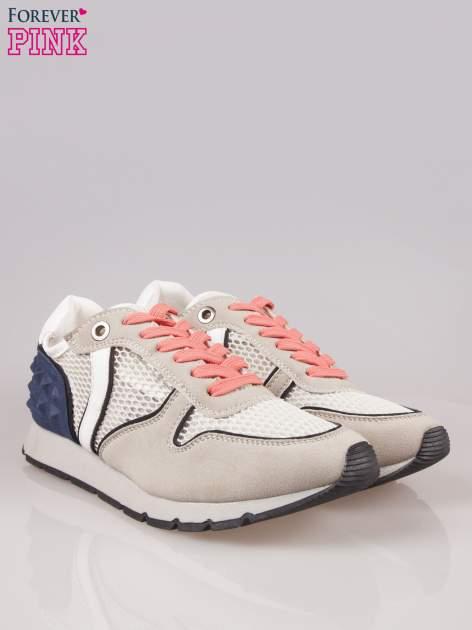 Beżowoniebieskie buty sportowe Dragon z siateczką na wysokiej podeszwie                                  zdj.                                  2