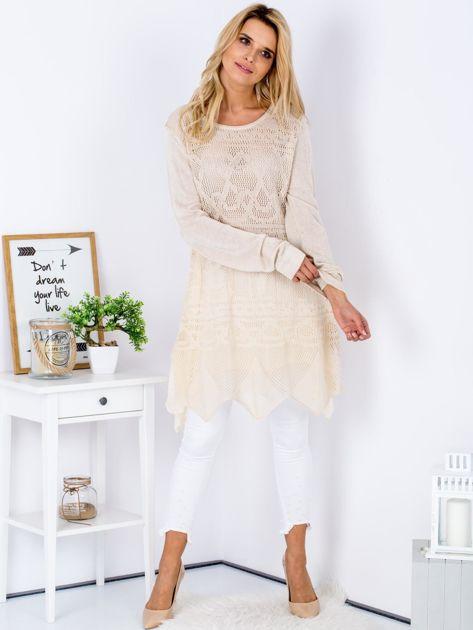 Beżowy ażurowy sweter damski                              zdj.                              4