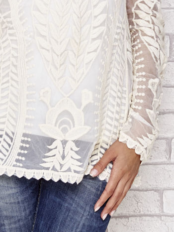 Beżowy ażurowy sweterek mgiełka                                  zdj.                                  5
