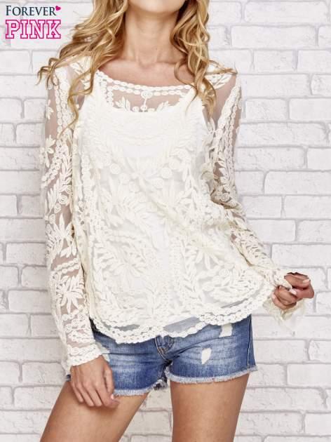 Beżowy ażurowy sweterk mgiełka z rozszerzanymi rękawami                                  zdj.                                  1
