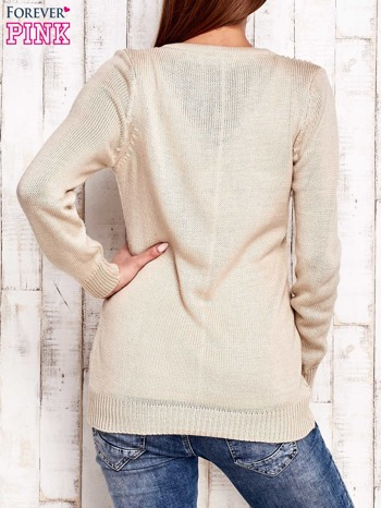 Beżowy dzianinowy sweter z wiązaniem                                  zdj.                                  4