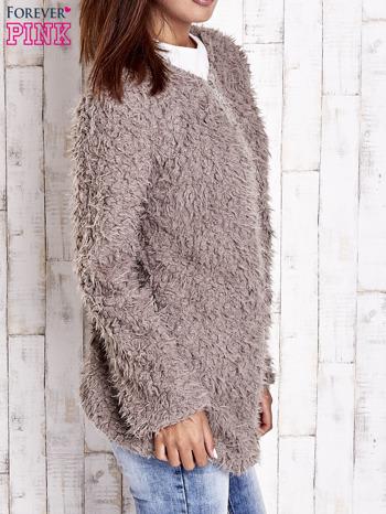 Beżowy futrzany sweter kurtka na suwak                                  zdj.                                  4