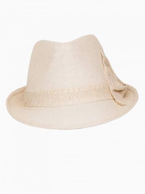 Beżowy kapelusz fedora z ażurową kokardą                                  zdj.                                  6