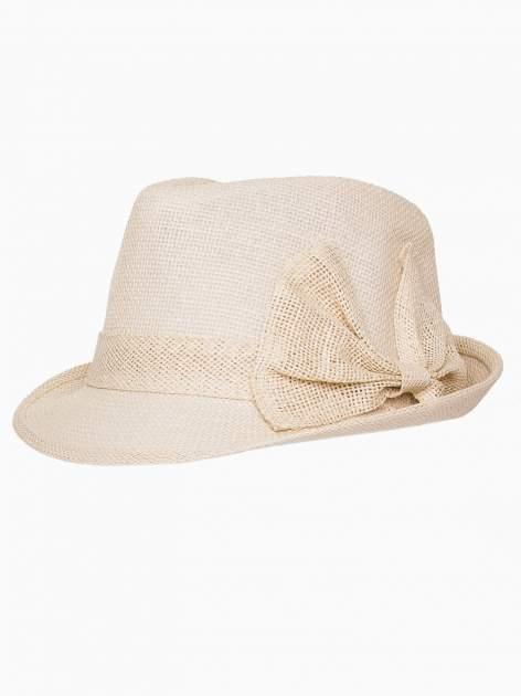 Beżowy kapelusz fedora z ażurową kokardą                                  zdj.                                  7