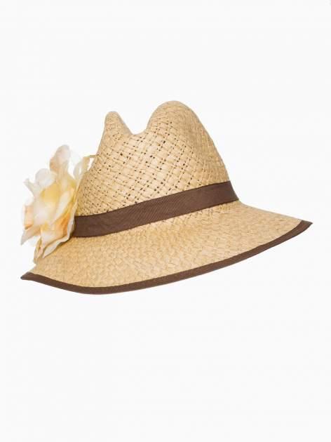 Beżowy kapelusz słomiany z dużym rondem i dużym kwiatem                                  zdj.                                  5