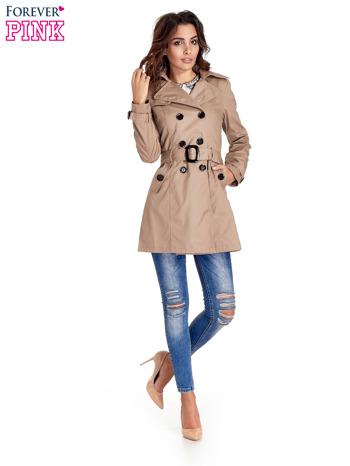 Beżowy klasyczny płaszcz typu trencz                                  zdj.                                  9