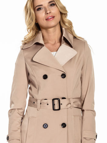 Beżowy krótki płaszcz trencz                                  zdj.                                  5