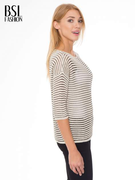 Beżowy półtransparentny sweter w prążki                                  zdj.                                  3