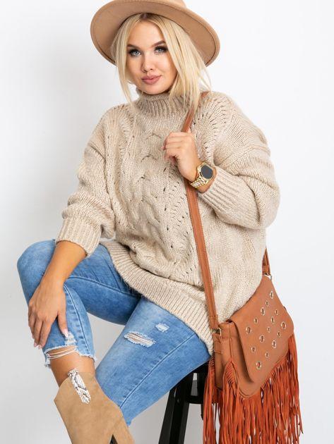 Beżowy sweter plus size Bridge                              zdj.                              1