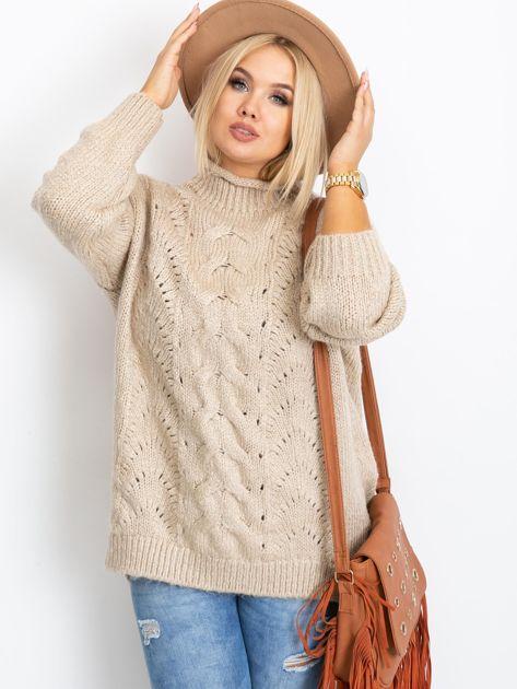 Beżowy sweter plus size Bridge                              zdj.                              6