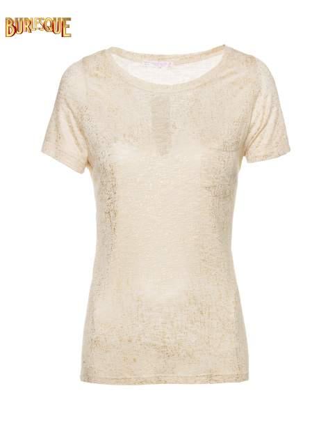 Beżowy t-shirt w złote plamki                                  zdj.                                  7