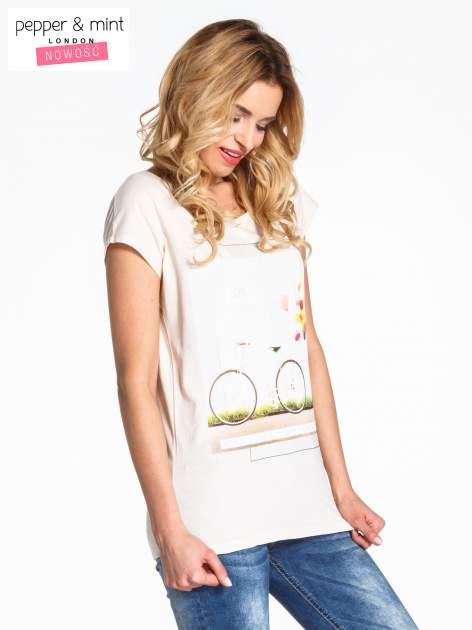 Beżowy t-shirt z nadrukiem JOY OF LIFE                                  zdj.                                  3