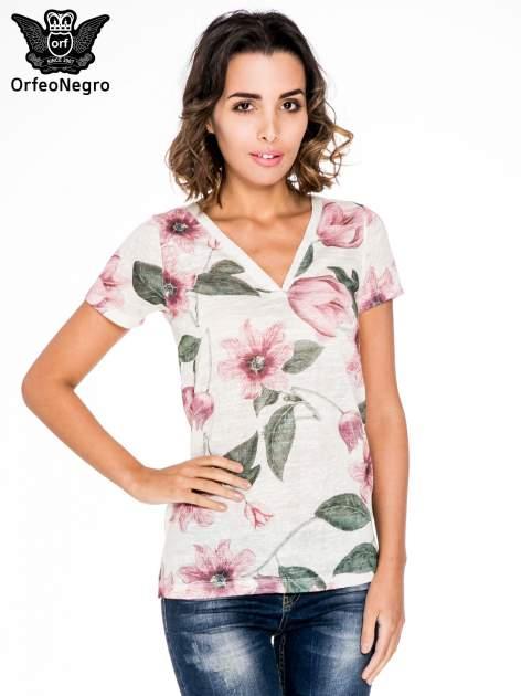 Beżowy t-shirt z nadrukiem all over floral print                                  zdj.                                  1