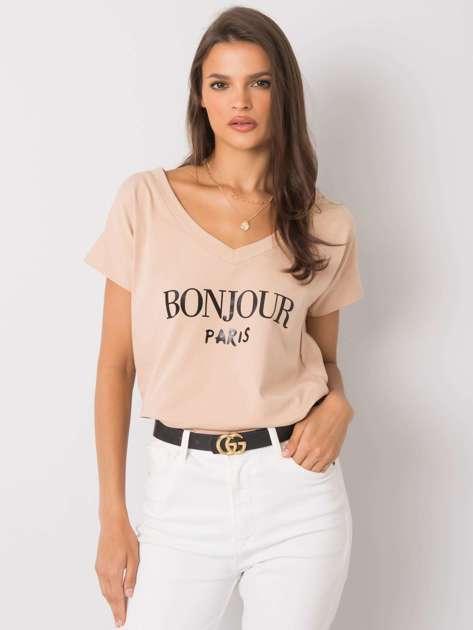 Beżowy t-shirt z napisem Emille