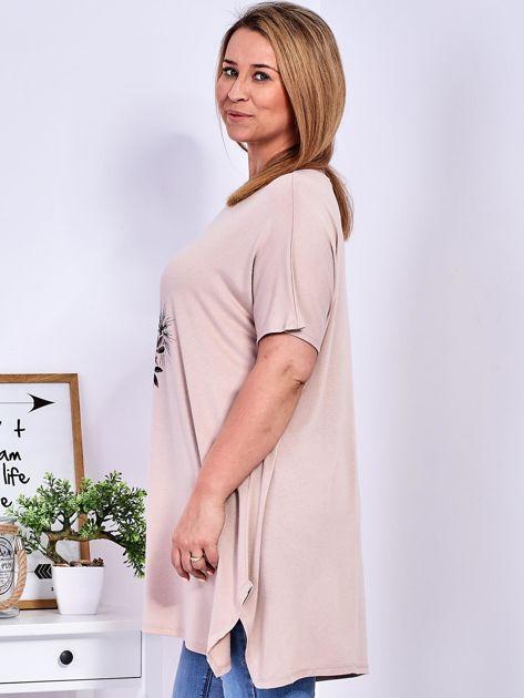 Beżowy t-shirt  z roślinnym printem PLUS SIZE                              zdj.                              5