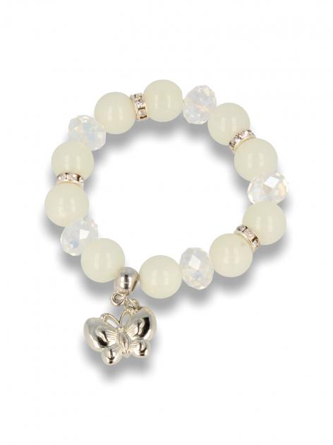 Biała Bransoletka koralikowa z zawieszką w kształcie motylka                                  zdj.                                  1
