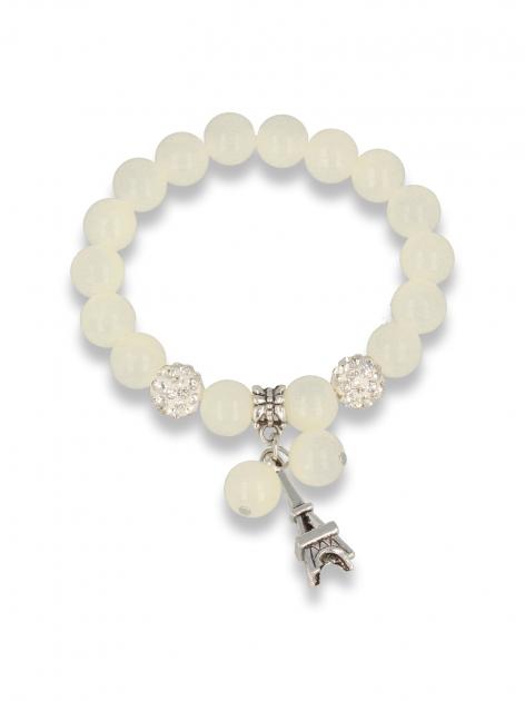 Biała Bransoletka koralikowa z zawieszką w kształcie wieży eiffla