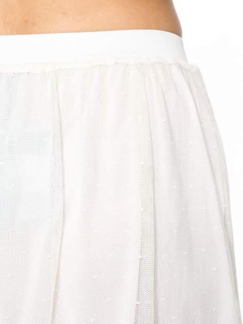 Biała ażurowa spódnica z zielonym pasem                                  zdj.                                  6