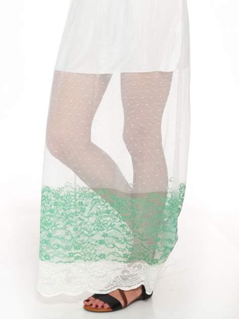 Biała ażurowa spódnica z zielonym pasem                                  zdj.                                  8
