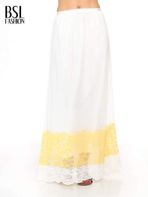 Biała ażurowa spódnica z żółtym pasem
