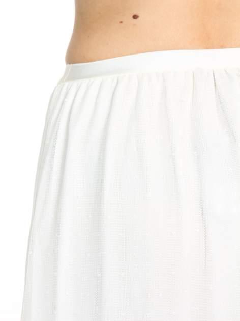 Biała ażurowa spódnica z żółtym pasem                                  zdj.                                  5