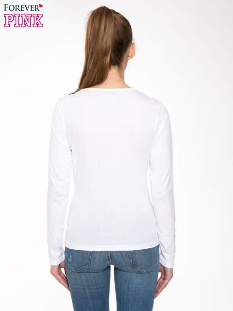 Biała bawełniana bluzka typu basic z długim rękawem                                  zdj.                                  4
