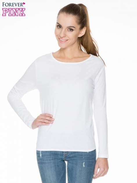 Biała bawełniana bluzka z gumką na dole                                  zdj.                                  1