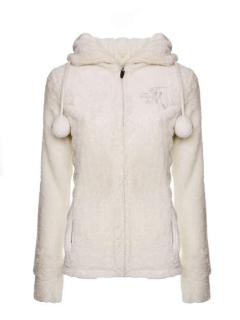 Biała bluza polarowa z kapturem z pomponikami