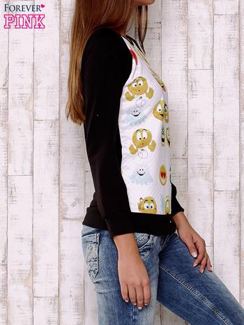 Biała bluza z nadrukiem emotikonów                                  zdj.                                  3