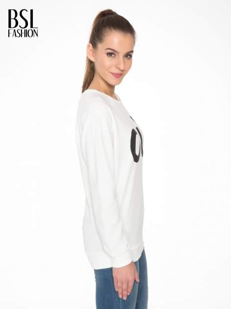 Biała bluza z nadrukiem tekstowym OÙI                                  zdj.                                  3