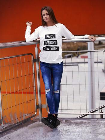 Biała bluza z napisem PARIS LONDON NEW YORK                                  zdj.                                  6