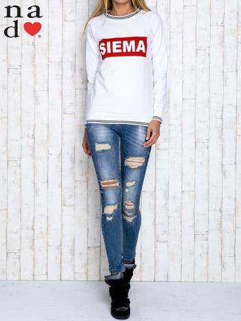 Biała bluza z napisem SIEMA                                  zdj.                                  2