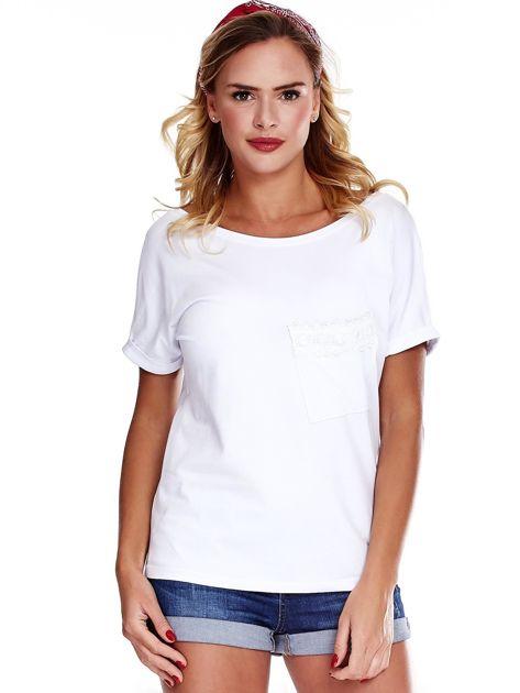 Biała bluzka damska z koronką                              zdj.                              1