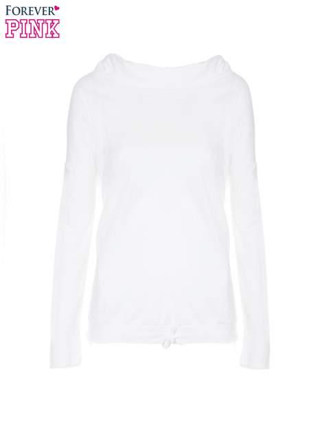 Biała bluzka dresowa z kołnierzokapturem i ściągaczem na dole                                  zdj.                                  5