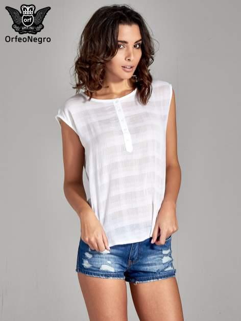 Biała bluzka koszulowa w kratę z guziczkami                                  zdj.                                  1