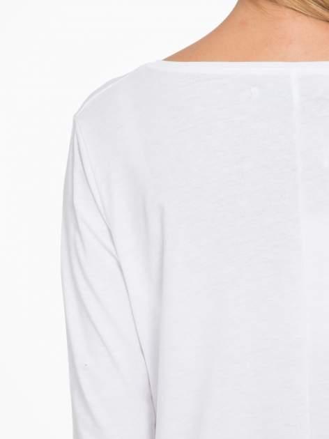 Biała bluzka o rozkloszowanym kroju z rękawem 3/4                                  zdj.                                  9