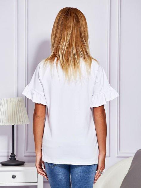 Biała bluzka z falbanami na rękawach                                  zdj.                                  2