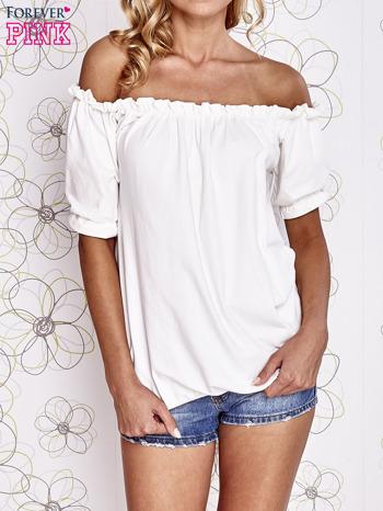 Biała bluzka z hiszpańskim dekoltem                                   zdj.                                  2