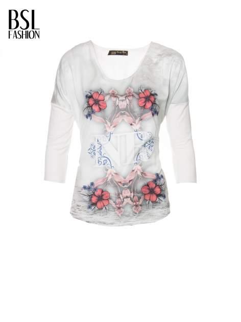 Biała bluzka z kwiatowym ornamentem i rękawami 3/4                                  zdj.                                  5