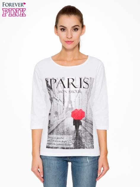 Biała bluzka z motywem Paryża                                  zdj.                                  1
