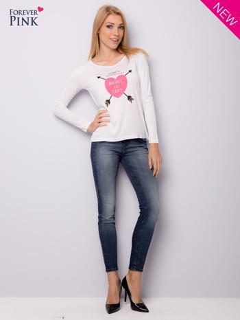 Biała bluzka z nadrukiem serca                                  zdj.                                  3