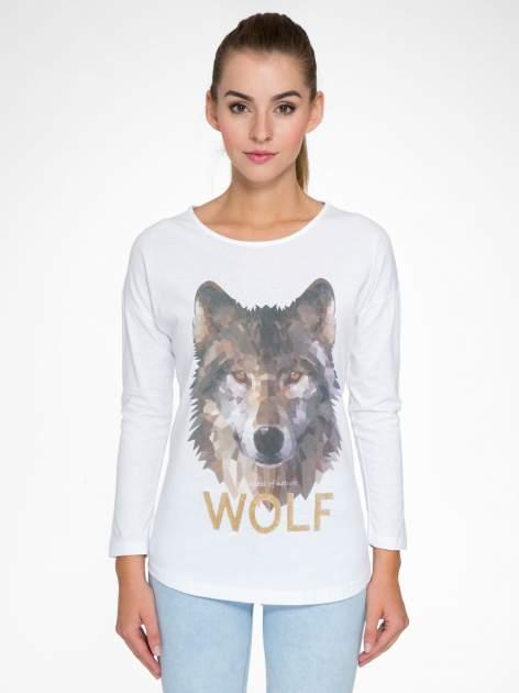 Biała bluzka z nadrukiem wilka i brokatowym napisem WOLF                                  zdj.                                  1
