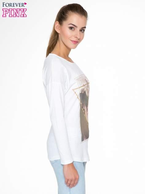 Biała bluzka z napisem MAKE IDEAS HAPPEN                                  zdj.                                  3
