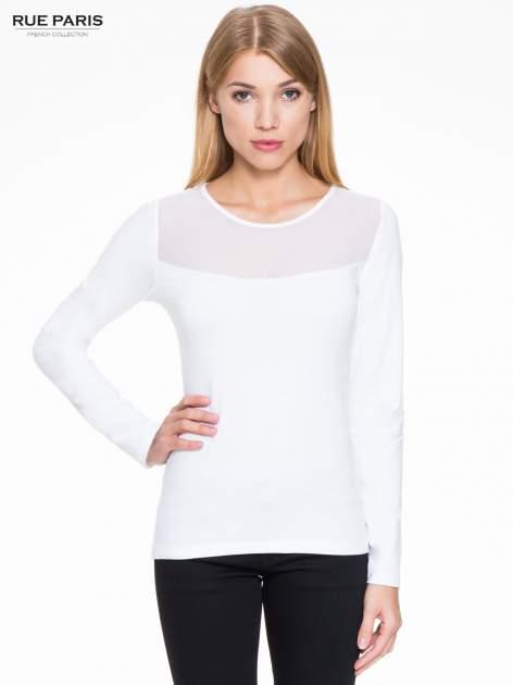 Biała bluzka z tiulowym karczkiem                                  zdj.                                  1