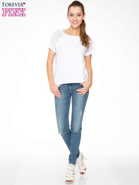 Biała bluzka z transparentnymi rękawkami                                  zdj.                                  2