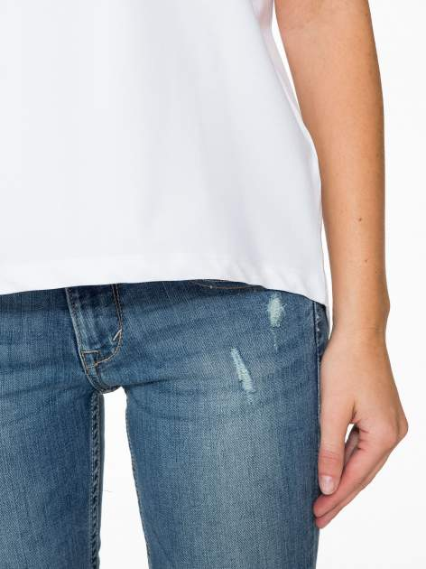 Biała bluzka z transparentnymi rękawkami                                  zdj.                                  7