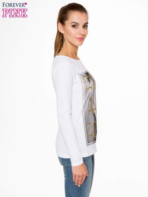 Biała bluzka ze złotym brokatowym napisem ROCK AND ROLL                                  zdj.                                  3