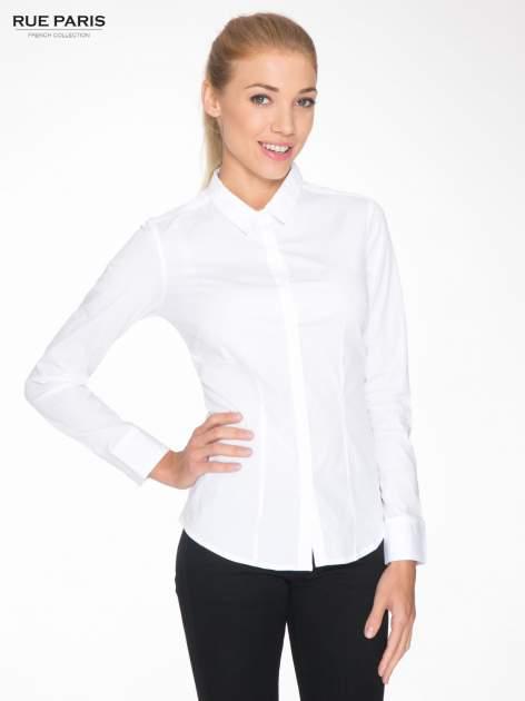 Biała elegancka koszula damska z krytą listwą                                  zdj.                                  1
