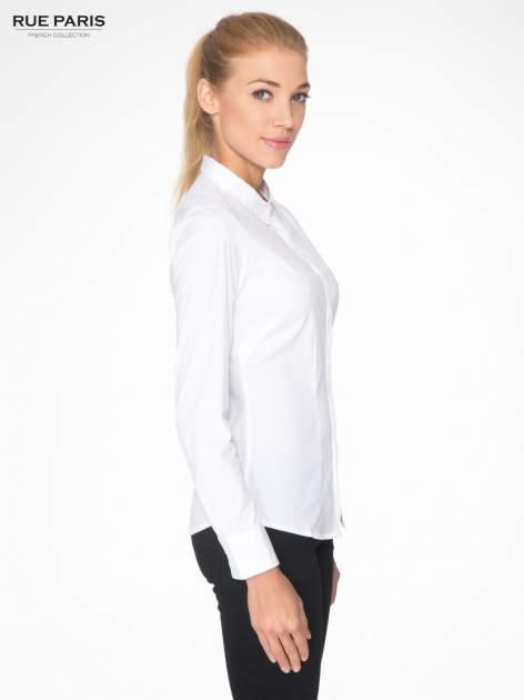 Biała elegancka koszula damska z krytą listwą                                  zdj.                                  3